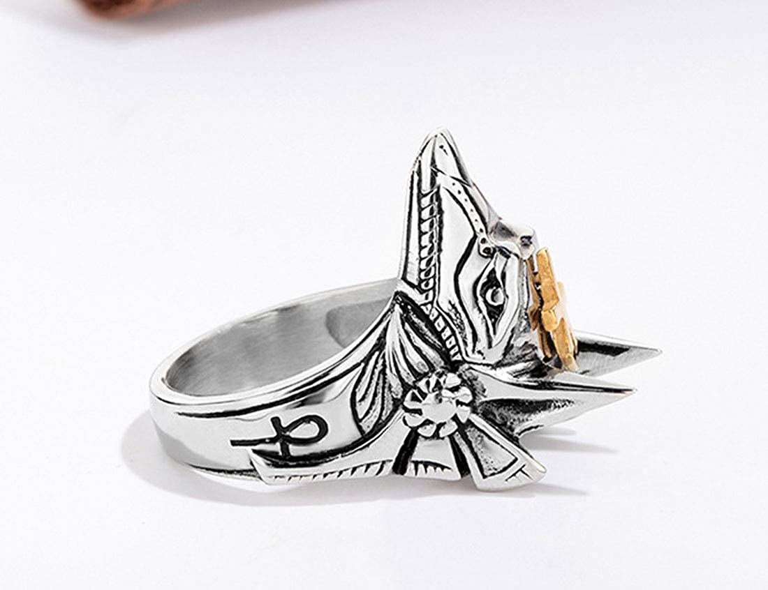 Details about  /Mens Stainlss Steel Gothic Punk Egyptian God Anubis Gold Ankh Ring Bands Biker