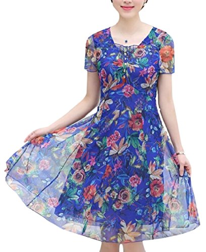 Dress Plain Sleeve Women Loose Floral 4 Print Short Line Simple A Jaycargogo CqOT4wgU