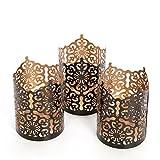 "Hosley's Set of 3 Black Finish Metal Candle Holder 4"" High Lattice cut lantern Ideal Gift for votive gardens, tealight, weddings, spa, Reiki"