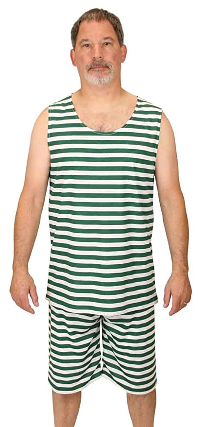 1920s Men's Costumes: Gatsby, Gangster, Peaky Blinders, Mobster, Mafia Historical Emporium Mens 1900s Striped Tank Bathing Suit $51.95 AT vintagedancer.com
