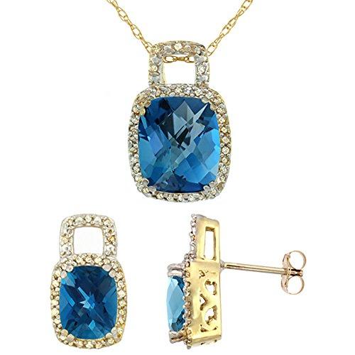 Jewellery World Bague en or jaune 9carats Diamant naturel octogone Boucles d'oreille et pendentif avec topaze bleu Londres de coussin Accents