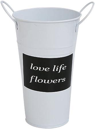 LDFN Hierro Paragüero Jardín Entance Oficina Multifuncional Decorativo Flor Cubo Almacenamiento Cubo,White-17 * 28cm: Amazon.es: Hogar