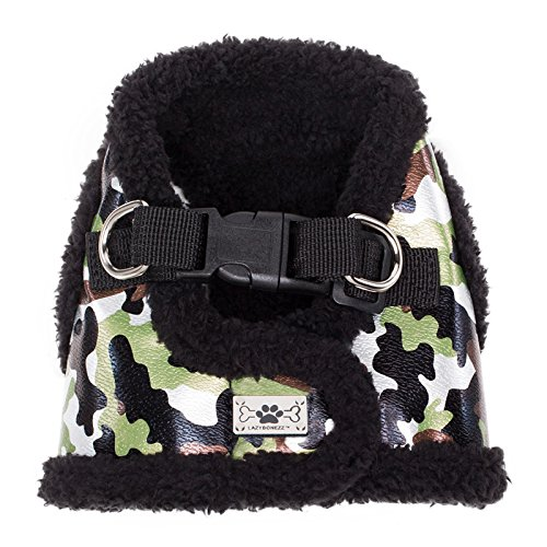 LazyBonezz Adjustable Shearling and Faux Leather Dog Harness Vest Coat, Camouflage Print