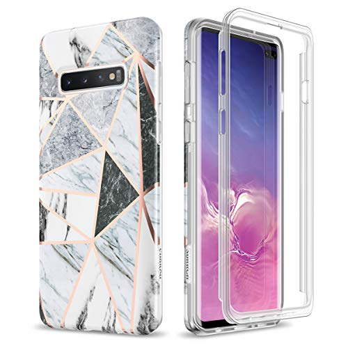 (SURITCH Case for Galaxy S10 Plus,[Built-in Bumper Protective Frame] Cute Geometric Marble Shockproof Rugged Cover for Samsung Galaxy S10 Plus 6.4 Inch (Gray Marble))
