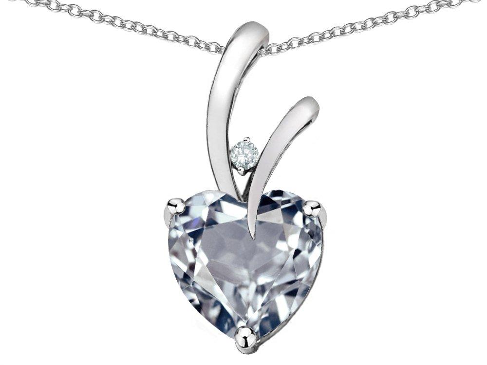 Star K Heart Shape 8mm Genuine Aquamarine Endless Love Pendant Necklace 10 kt White Gold