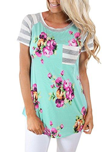 Floral Design Short Sleeve Top - 5
