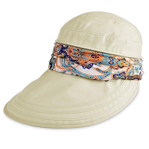 Vbiger Visor Hats Wide Brim Cap UV Protection Summer Sun Hats For Women (Beige)