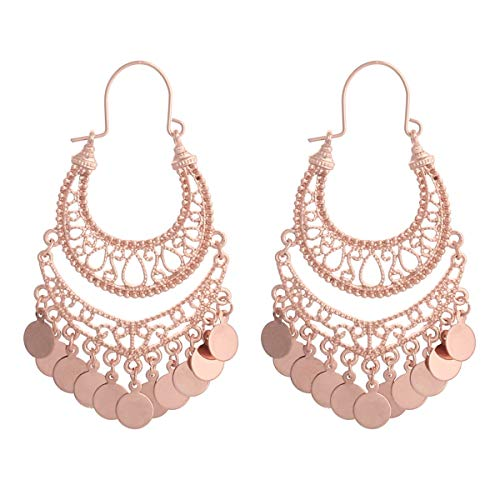 RIAH FASHION Bohemian Chandelier Coin Dangle Earrings - Gypsy Lightweight Filigree Hoops with Disc Charms (Rose (Collection Chandelier Earrings)