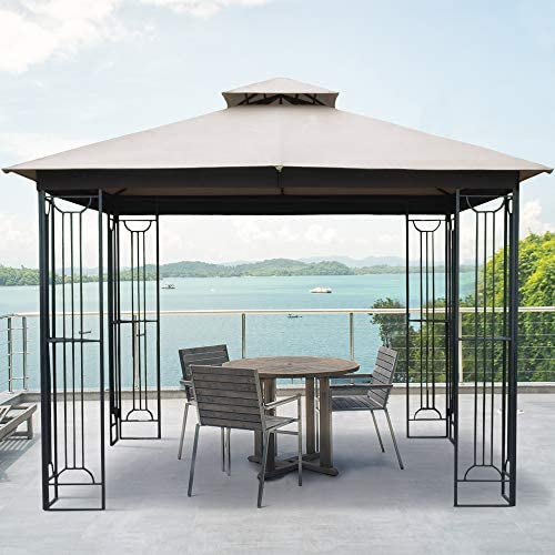 AsterOutdoor 10×10 Outdoor Gazebo for Patios Canopy for Shade and Rain with Corner Shelves, Soft Top Metal Frame for Lawn Backyard and Deck, 99 UV Rays Block, CPAI-84 Certified, Beige