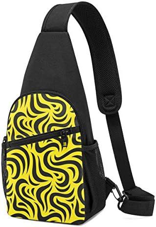 ボディ肩掛け 斜め掛け 黒い幾何図形 ショルダーバッグ ワンショルダーバッグ メンズ 軽量 大容量 多機能レジャーバックパック