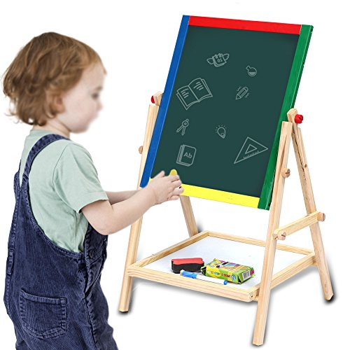 Wood Easel for Kids,Double Sided 360 Degree Rotation Wooden Standing Chalkboard Memo Board Magnetic 2 in1 Black / Whiteboard For Painting Drawing by Estink