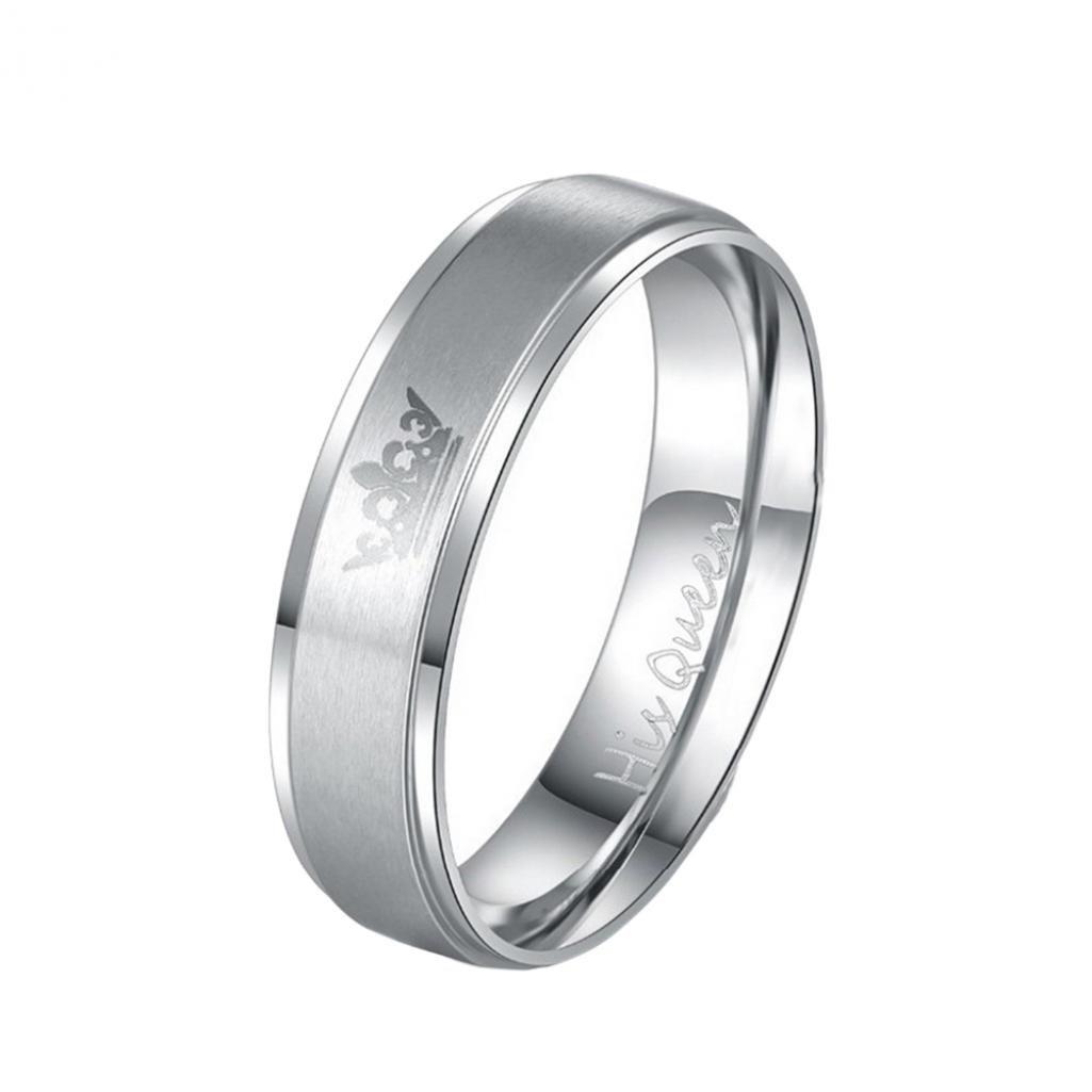 """Amesii - Coppia di anelli """"His Queen"""" e """"Her King"""" in acciaio al titanio, per San Valentino"""