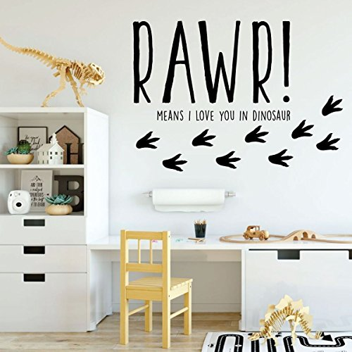 Dinosaur Wall Decal for Kids Room - RAWR! Means I Love You In Dinosaur - Vinyl Sticker for Boy's or Girl's Bedroom - Playroom or Baby Nursery - Means Size Os