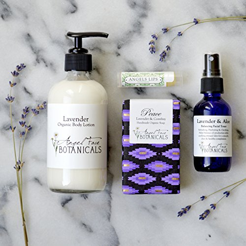 Lavender Organic Bath and Body Gift Set with Lotion, Soap, Aromatherapy Facial Toner and Lip Balm - Perfect Spa Day Gift For Her (Gift Set Lotion Lavender)