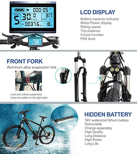 HOTEBIKE Powerful Electric Mountain Bike, 27.5 inch Electric Bicycle 350W 36V EBike with Hidden Removable 36V 10AH Lithium Battery, 21 Speed Shifter