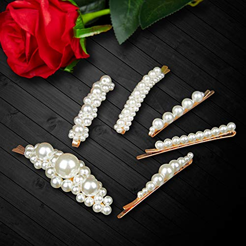 Kids Pearl - Pearl Hair Clips for Women Girls, J-MEE 6pcs Non-Slip Artificial Pearl Barrettes Bobby Pins Snap Clips Bling Hairpins Decorative Hairgrip Accessories for Party, Daily life, Work, School, Holiday