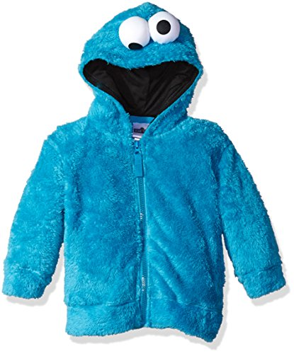 Sesame Street Toddler Boys' Fuzzy Costume Hoodie (Multiple Characters), Cookie Monster Blue, 5T