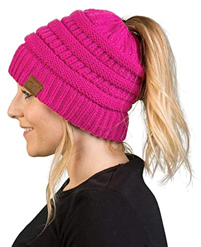 BT-6020a-78 Messy Bun Womens Winter Knit Hat Beanie Tail - Neon Hot Pink from Funky Junque