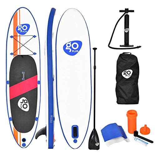 Goplus Inflatable Stand Up Paddle Board 10 11ft SUP 6 Thick Non-Slip Deck with with Free Premium SUP Accessories, Backpack, Adjustable Paddle, Hand Pump and Repair Kit, for Youth Adult