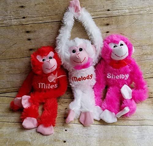 personalized Valentine Monkey. Plush Stuffed monkey. Great Gift for Valentines Day. Personalize with Name and ()
