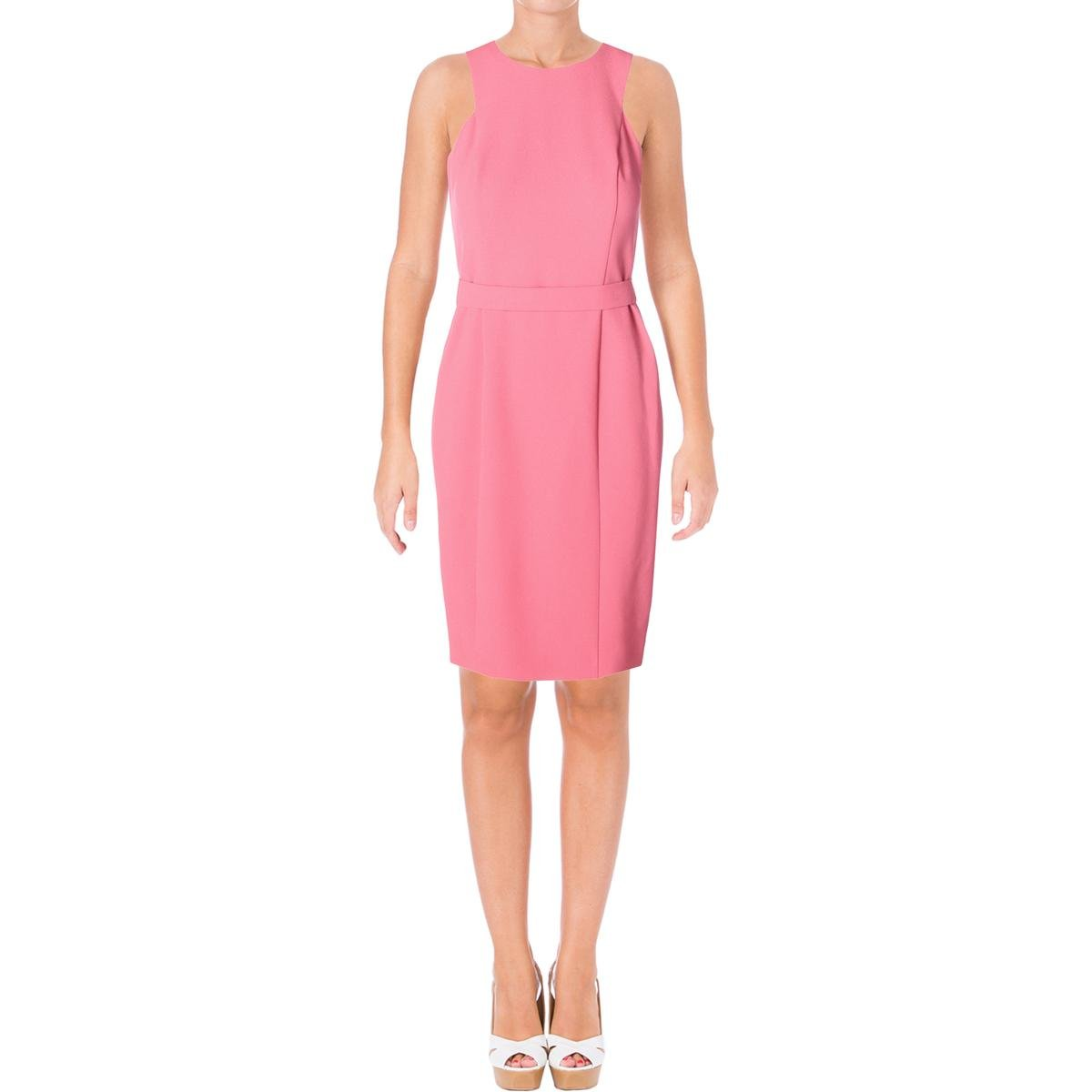 Pastel Red Hugo Boss BOSS Womens Dalanea Textured Sleeveless Wear to Work Dress