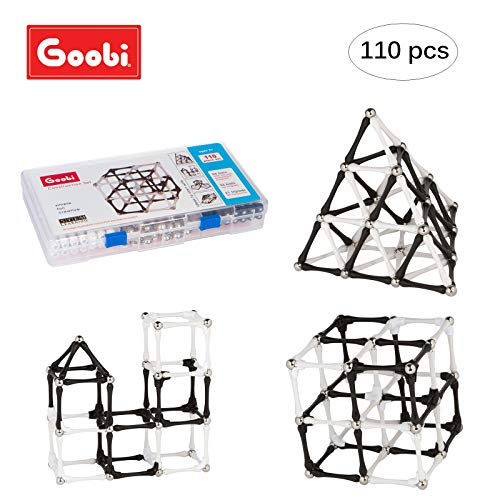 Goobi 110 Piece Construction Black and White Set Building Toy Active Play Sticks STEM Learning Creativity Imagination Children's 3D Puzzle Educational Brain Toys for Kids with Instruction Booklet