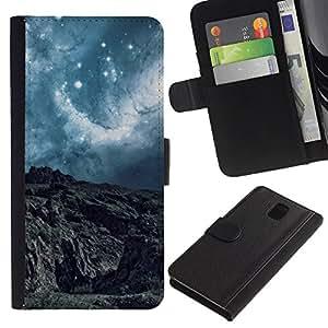 KingStore / Leather Etui en cuir / Samsung Galaxy Note 3 III / Paisaje abstracto Planet