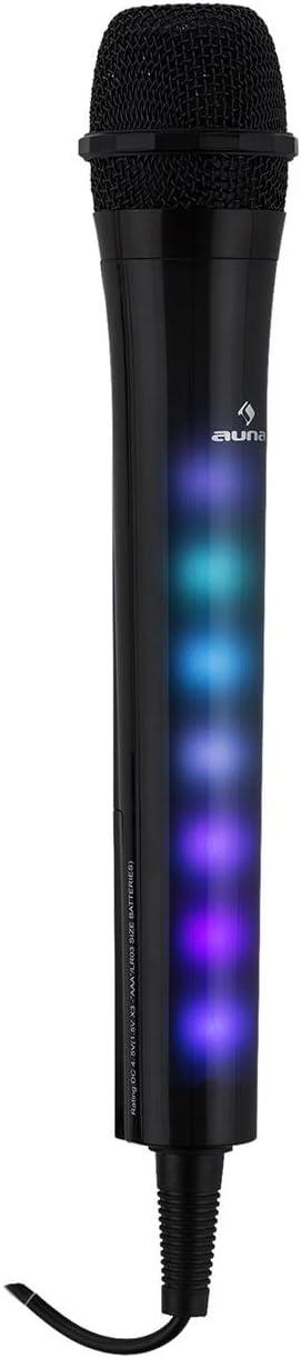 TALLA Kara Dazzl. AUNA Kara Dazzl - Micrófono de Karaoke , Micrófono de Recambio , Iluminación LED en Rojo Verde y Azul , Cable Largo 3 Metros , 3 Pilas AAA Incluidas , Jack 6,3 mm para micrófono , Negro