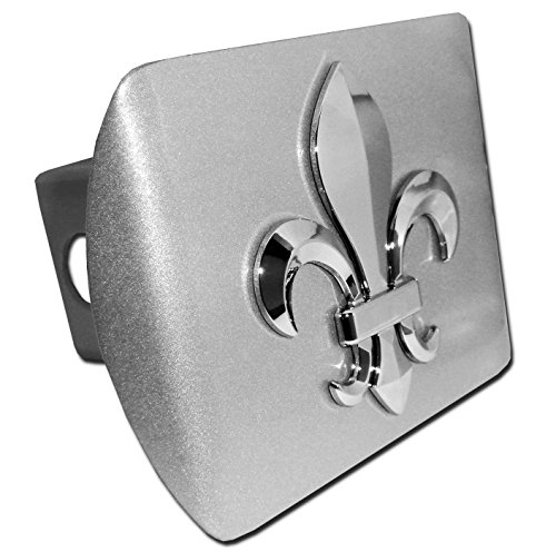 Fleur-De-Lis ALL METAL Brushed Chrome Hitch Cover