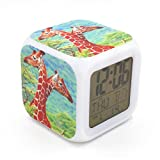 Boyan Led Alarm Clock Giraffe Animal Design Green Creative Desk Table Clock Glowing Led Digital Alarm Clock for Unisex Adults Kids Toy Gift