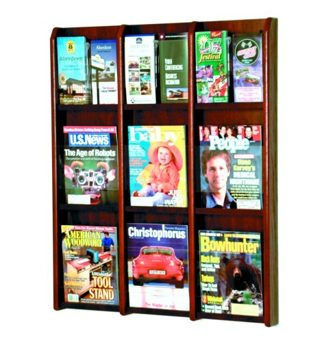 Wooden Mallet 9-Magazine/18-Brochure Divulge Wall Display with Brochure Inserts, Mahogany -
