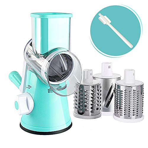 Valuetools Manual Rotary Cheese Grater - Round Mandoline Slicer with Strong Suction Base, Vegetable Slicer Nuts Grinder Cheese Shredder with Clean Brush
