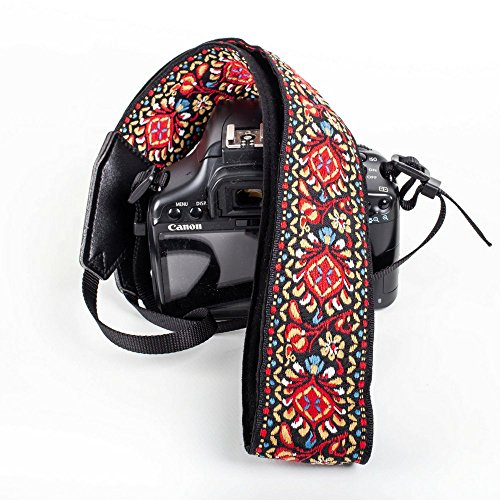 Red Vintage Camera Shoulder Strap Belt for All DSLR Camera – Vibrant Design Universal DSLR Strap, Embroidered Vintage Multi Color Neck Belt for Canon, Nikon, Sony,Pentax, Fujifilm, and Digital Camer