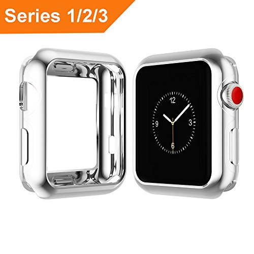 Apple Watch Case 38mm 42mm, MIFFO Silm Scratch-resistant Soft TPU Plated Lightweight Protector Case for iWatch Series 3 / Series 2/ Series 1 (Silver, 38mm)