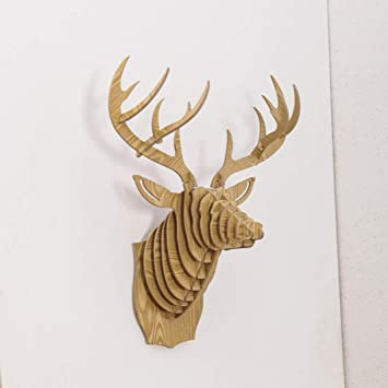 laser cut stag head wooden rustic style wall decoration