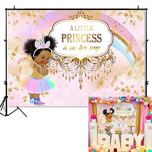 Mehofoto Unicorn Princess Baby Shower Backdrop Pink Rainbow Princess Photography Background 7x5ft Vinyl Unicorn Baby Shower Party Banner Decoration -