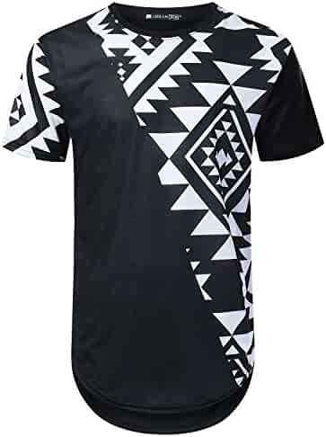 225e09f104d URBANTOPS Mens Hipster Hip Hop Graphic Aztec Longline T-Shirt (Various  Styles)