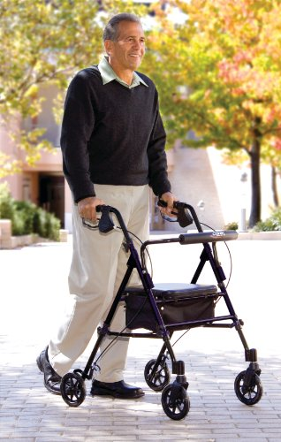 Carex Step 'N Rest Rollator, Rolling Walker with Padded Seat and Backrest, Adjustable Handles with Locking Handbrakes, Weight Capacity of 250 lbs. by Carex Health Brands (Image #4)