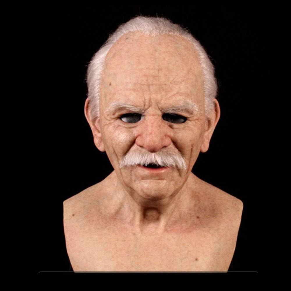 Another Me - The Elder Man - Máscara de silicona, máscara de hombre viejo realista, máscara de arrugas, de cabeza completa de látex para fiesta de Halloween disfraces de decoración realista