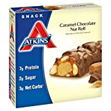 #8: Atkins Snack Bars, Caramel Chocolate Nut Roll, 7g Protein, 2g Sugar, 3g Net Carbs, 7.76-Ounce, 5-Bars (Packaging May Vary)