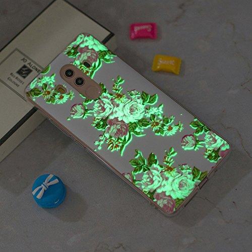 Funda Huawei Mate 10 Pro, CaseLover Noctilucent Luminous TPU Silicona Carcasa Huawei Mate 10 Pro Ultra Delgado Suave Fluorescente Brillo Nocturno En la Oscuridad Protectora Caso Flexible Tapa Caja Floral