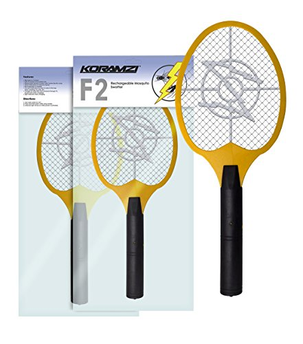 Koramzi Bug Zapper Racket Fly Swatter Mosquito Killer, Zap Mosquito Best for indoor and Outdoor Pest Control F2 (Yellow) by Koramzi