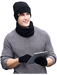 Winter Men Beanie Hat + Scarf + Touch Screen Gloves, 3 Pieces Winter Warm Clothing Set for Men