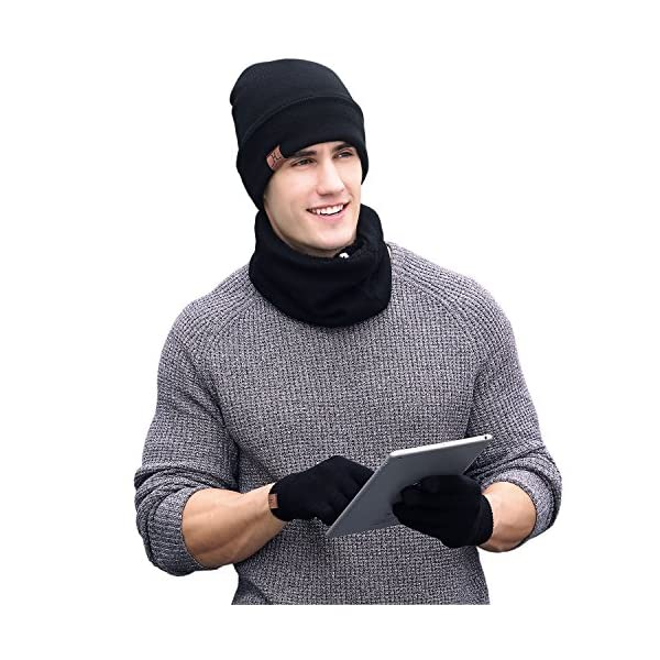 Kerrian Online Fashions 51z79YZ6h4L 1-3 PCS Winter Beanie Hat Scarf Touchscreen Gloves for Men and Women, Warm Knit Fleece Lined Beanie Gloves Infinity Scarf Set