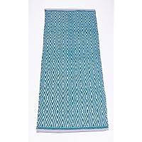 Chardin home 100% Cotton Diamond Runner Rug Fully Reversible, Size -2x5, Machine Washable, Turquoise/White