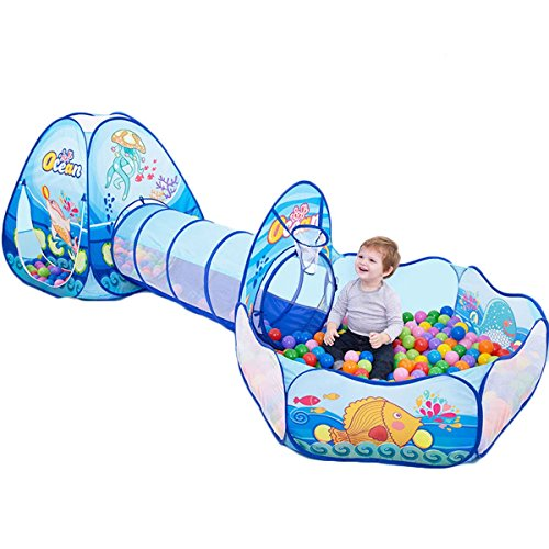 Maudre 3PC Kids Play Tent Crawl Tunnel and Ball Pit with Basketball Hoop for Girls, Boys, Babies, Children and Toddlers with Carrying Bag for Indoor Outdoor
