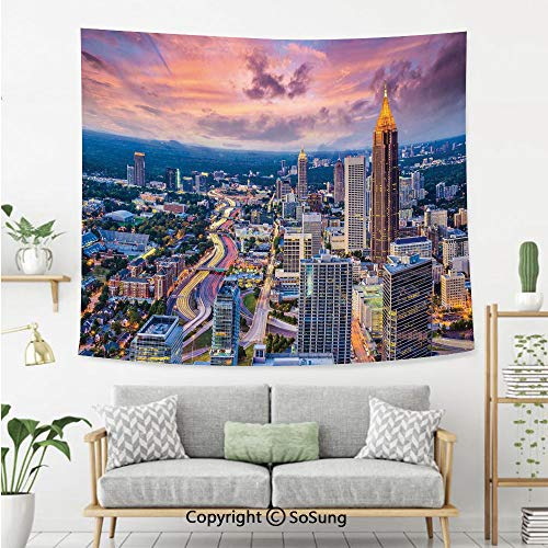 Modern Wall Tapestry,Atlanta City Skyline at Sunset with Hazy Light Georgia Town American View,Bedroom Living Room Dorm Wall Hanging,92X70 Inches,Baby Pink Blue Silver