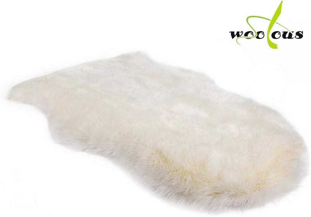 Faux Fur Sheepskin Rug, Soft Faux Sheepskin Area Rug for Chair Cover Seat Pad Plain Bedroom Sofa Floor Living Room, Shaggy Sheepskin Rug for Baby 2×3 Feet WOOLOUS White