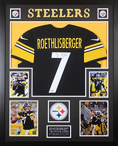 4f9ac0970f4 Ben Roethlisberger Autographed Black Steelers Jersey - Beautifully Matted  and Framed - Hand Signed By Ben Roethlisberger and Certified Authentic by  Fanatics ...