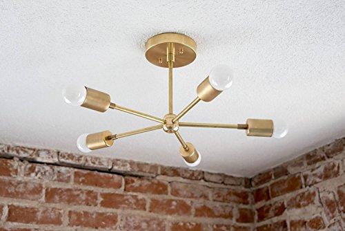 Modern Brass Chandelier Five 5 Arm Sputnik Light Fixture